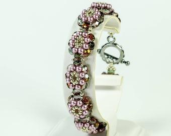 Red Purple and Powder Rose Pearl Woven Bracelet, Swarovski