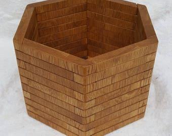 Hexagonal Oak Planter