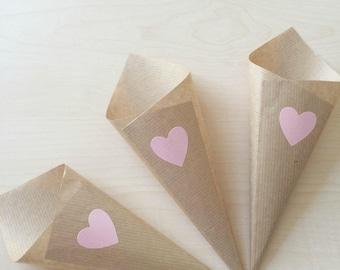 Pink Heart Confetti Cone