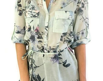 Women's Floral Half Button Shirt with Roll Up Sleeves 100% cotton