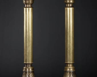 "15"" Large Stunning Pair of Antique Bronze Candlesticks Candle Holders Acanthus Leaf 1"