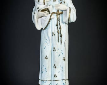 "17.7"" Large Antique Saint Anthony of Padua with Child Jesus Plaster Statue Vintage Baby Jesus Delightful Figurine Infant Figure 1"