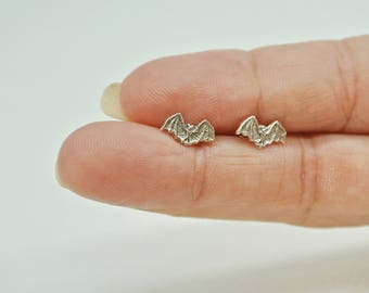 Vampire Bat Silver Earrings, Sterling Silver 925 Earrings, Tiny Cute Bat Earrings, Small Casual Bat Earrings