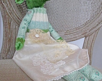 Handmade Fabric Dog/Flower Girl Gift/ Dog Doll