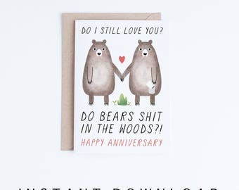 Printable Anniversary Cards, Instant Download Funny Anniversary Cards,  Boyfriend, Girlfriend, Husband,  Printable Anniversary Cards For Him