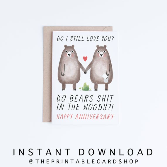 Printable Anniversary Cards, Instant Download Funny Anniversary Cards,  Boyfriend, Girlfriend, Husband, Wife, Gay, Lesbian, Straight, Bears  Printable Anniversary Cards For Husband