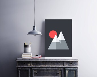 Minimal Mountains (Grey) - Digital Art Print [A4]