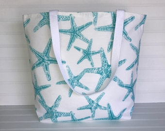 Handmade Everyday Tote | Market Bag |  Aqua Starfish Tote
