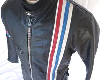 Real Vintage Steve McQueen LeMans Style SLIM Fit LEATHER Cafe Racer Motorcycle JACKET