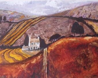 Painting Fields Original Acrylic Landscape