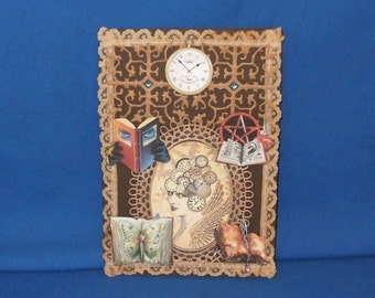 Steampunk all ocasions card with 3d books, & real lace