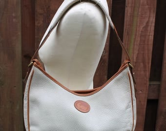 DOONEY & BOURKE Hobo Slouchy Saddle Tote Shoulder Shopper Bag Vintage Cream Tan Brown All Weather Leather Hide harness Purse