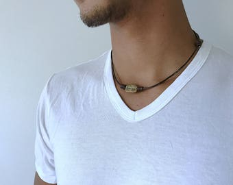Mens Stone Necklace Hippie Necklace Mens Boho Necklace Jewelry for Men Guy Necklace Gift for him Mens Gift adjustable leather necklace Men