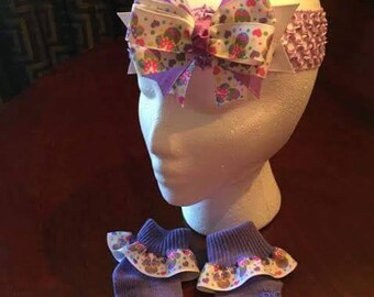 Purple Sock and bow set
