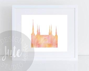 Washington DC LDS Temple Printable Art Instant Download Watercolor Print- ORANGE