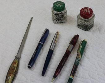 Vintage Ink bottles,Letter Opener and Pens