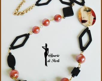 "Wooden necklace with Locket ""Freyja's tears"""