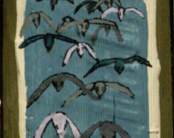 Two Sided Small Block - Flock of incoming birds/Sea flowers perhaps