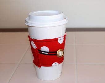 Red with White Polka Dots Reusable Coffee Sleeve with White Pearl and Gold Button