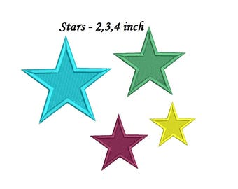 Star Embroidery Design - 3 sizes 4 colors star embroidery - star  Instant Download