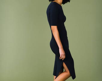 Dark Navy Fairtrade and Organic Split Dress