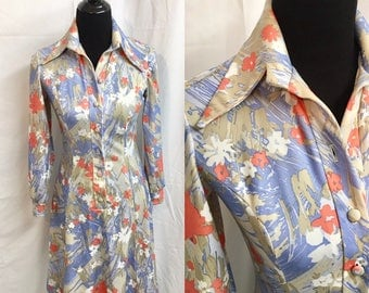 Vintage Prynts By Bleeker Street Long Sleeve 1970s Polyester Abstract Floral Daisy Butterfly Collar Short Dress