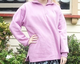 Cozy Pink 90s Fleece Zipper Sweatshirt