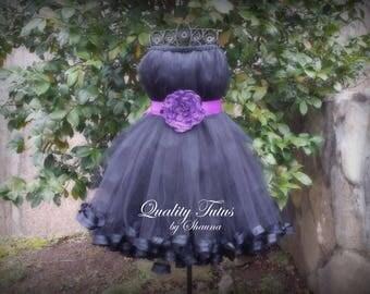 Purple on Black Sleeveless Junior Bridesmaid Dress