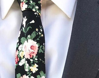 Men's Floral Black Tie (Perfect for Weddings, Gifts, Formal Events, Meetings, Prom, etc)