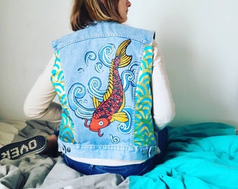 customized of inspiration sleeveless denim jacket Japanese unique piece painted by hand and customization with a belt of kimono T:M