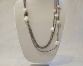 Labradorite and Freshwater Pearl Necklace
