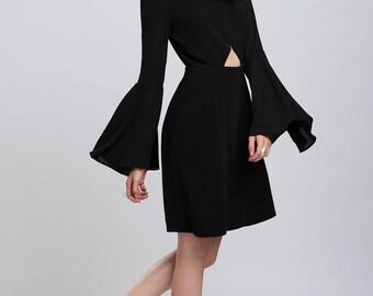 Orchid Cutout Dress Mini Black Party Ruffles Open Back