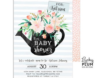 Floral Baby Shower Invitation / In Full Bloom Baby Shower Invitation / Rustic Baby Shower Invitation / Couples Baby Shower Invitation / Coed