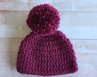 Baby Girl Pom Pom hat, Newborn or 0-3 month sizes , Raspberry or Mauve  Crochet baby beanie,   infant girl hat, Photo Prop,