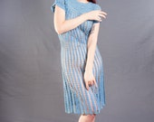 Reserved til 6/10: AMAZING Light Blue 1930's or early 1940's CROCHET Dress, size Small