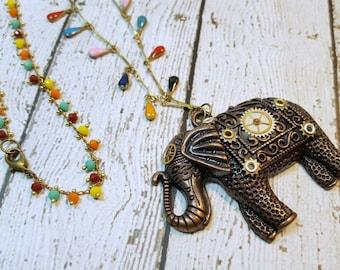 Colorful Elephant Pendant Necklace, Elephant Necklace, Steampunk Elephant, Boho Elephant, Tibetan Elephant, Lucky Elaphant, Watch Parts