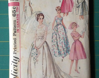 Vintage Simplicity 5343 Wedding Dress Size 12 Bust 32