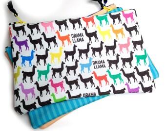 Drama Llama Zipper Bag, Project bag, Knitting tools