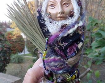 Kitchen witch, Spirit Art Doll, Assemblage Figure, Art Doll Assemblage, ooak art doll, shabby decor, Handcrafted figurine