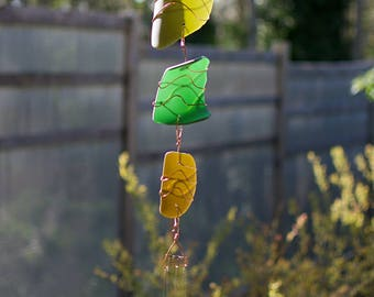 Wind Chime Colorful Sea Glass Copper Outdoor Windchimes