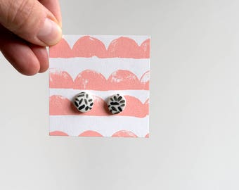 Porcelain Ceramic Stud Earrings - Hand Painted Grate. Made in Melbourne.