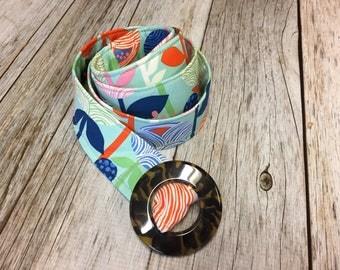 Women's Fabric Belt - Sky Floral Fabric Belt