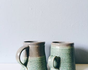 Green and gray pottery mug - rustic green and grey ceramic cup