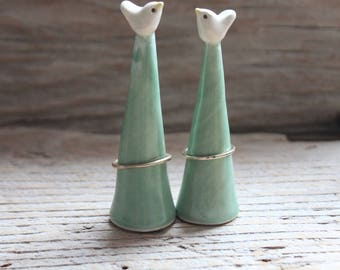 Handmade White & Pale Green Bird Ring Cone - Ready to Ship