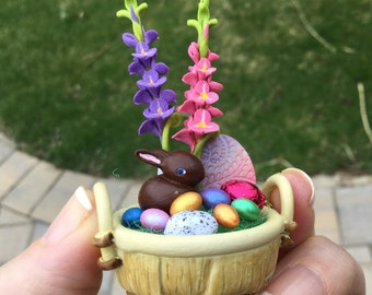 Khien Ceramic Easter Basket with Eggs Flowers and Chocolate Bunny Rabbit by IGMA Artisan Diane Paone