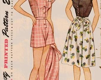 Simplicity 1618 Misses 40s Play Suit & Skirt Vintage Sewing Pattern Size 14 Bust 32 Uncut Jumpsuit Wrap Skirt