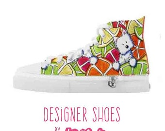 KiniArt Citrus Westie Zipz High Top Shoes Sneakers