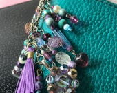 Turquoise & Purple, Vintage Inspired- Planner Charm, Planner tassel, Journal Charm, Bible Charm, Travelers Notebook Charm