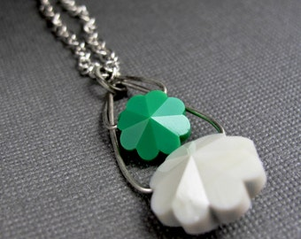 Layered Flower  Vintage Swarovski Bead and Sterling Silver Necklace -  Green and Cream Flowers