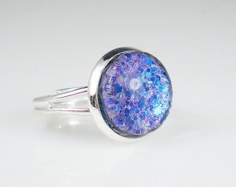 Aqua Lavender Holo Glitter Nail Polish Ring Nail Polish Adjustable Ring Jewelry